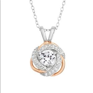 White Sapphire Sterling Silver & 18k RoseGold Over